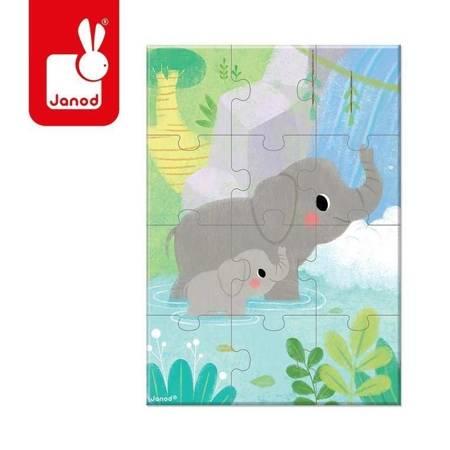Janod - Mini puzzle do kolekcjonowania Słoń