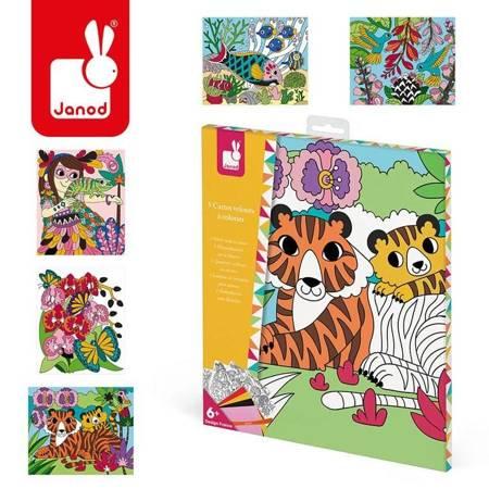 Janod - Zestaw kreatywny Aksamitne karty Dżungla